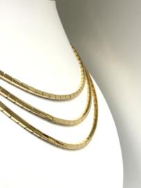 3-Rijig 18 Karaat Gouden Schakel Collier - 86,3 g