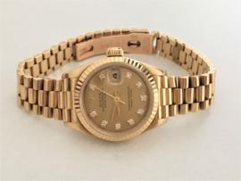 Rolex Oyster Perpetual Datejust Dames Polshorloge 18 K Goud - Diamant