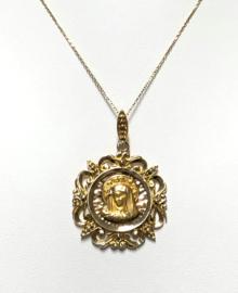 Handvervaardigd Antiek Gouden Maria Penning Hanger - 4 cm