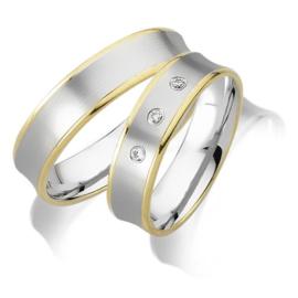 Trouwringen Bicolor Goud 14 Karaat 0.06 Diamanten - Model FL100