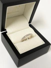 18 K Witgouden Aanschuif Ring 0.25 crt Briljantgeslepen Diamant Pavé - H/VS2