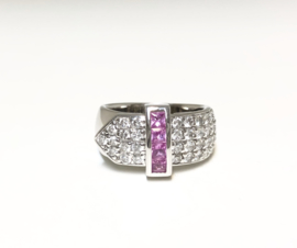 18 K Witgouden Bandring Briljantgeslepen Diamant Caré Geslepen Roze Saffier