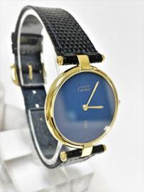 Cartier Le Must Vermeil Ronde Large Lapis Lazuli Dial Quartz