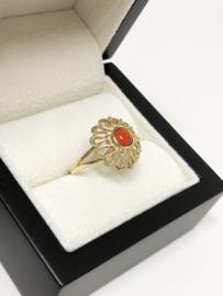 14 K Antiek Gouden Rozet Ring Cabochon Geslepen Bloed Koraal