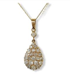 18 K Antiek Handvervaardigd Rosé Gouden Hanger 0.75 crt Diamant