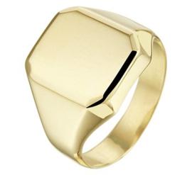 14 K Gouden Graveerring / Zegelring Gediamanteerd (8-Kant)