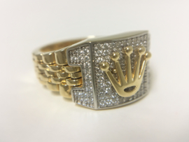 14 K Bicolor Gouden Heren Rolex Ring - 9,7 g