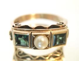 Antiek 8 Karaat Ring met Parel en Prinsesgeslepen Toermalijn - Jaren '50