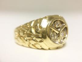 Zware 18 K Gouden Heren Mercedes Ring 0.15 Diamant - 14,25 g