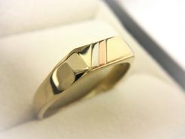14 K Tricolor Gouden Heren Ring