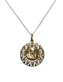 18 K Antiek Gouden Hanger Maria Figuur - 3,5 cm