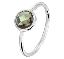 Gerhodineerd Zilveren Ring Facetgeslepen Groene Toermalijn