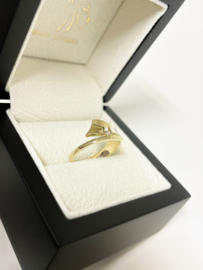 14 K Gouden Fantasie Ring 0.02 crt Briljant Geslepen Diamant