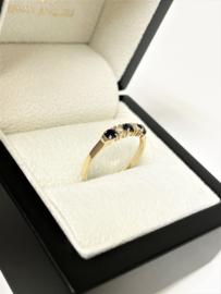 14 K Gouden Rijring Briljant Geslepen Diamant / Saffier