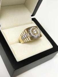 14 K Bicolor Gouden Heren Rolex Ring Zirkonia - 10,4 g