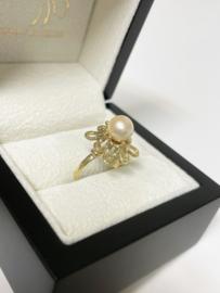 14 K Antiek Gouden Fantasie Ring Cultivé Zoetwater Parel