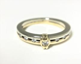 Le Chic 14 K Bicolor Gouden Aanschuif Ring 0.17 crt Diamant H / VS1