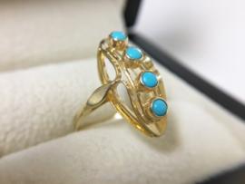14 K Gouden Fantasie Ring - Turkoois