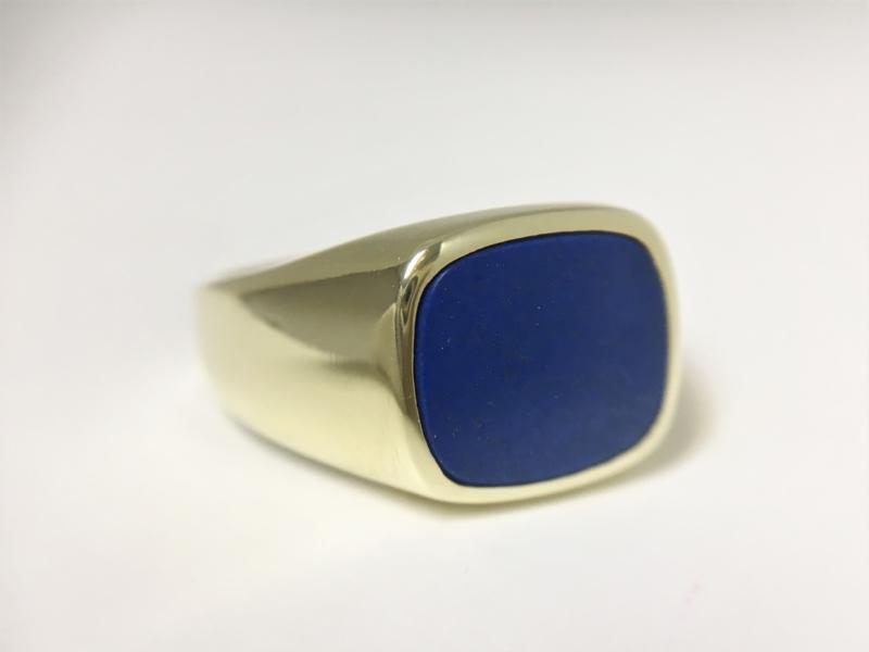 14 K Massief Gouden Stomphoek Heren Zegelring Lapis Lazuli - 8,8 g