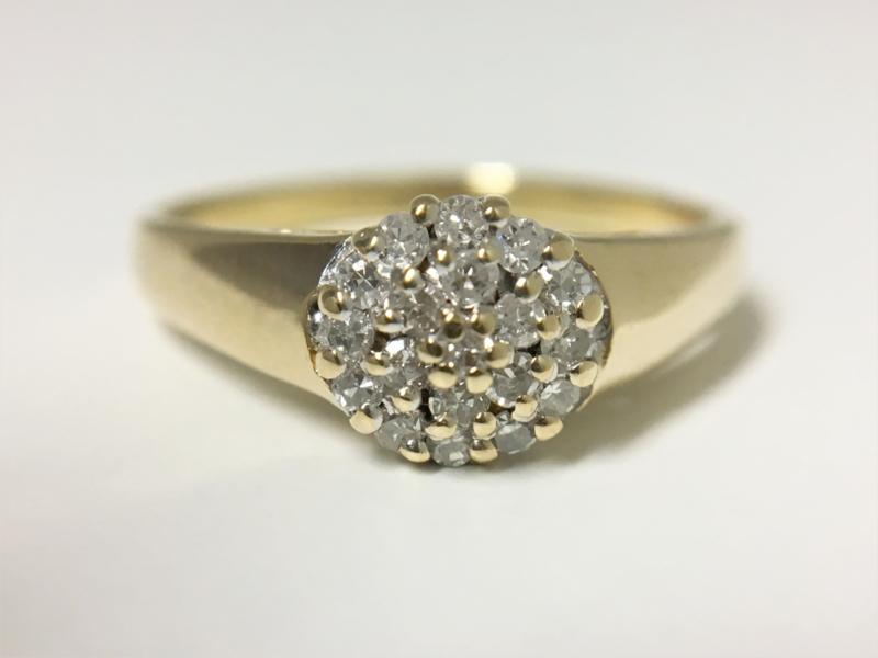 14 K Gouden Rozet Ring 0.20 crt Briljantgeslepen Diamant