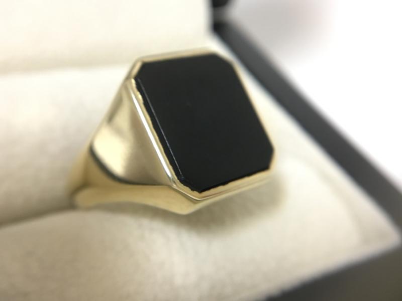 14 K Gouden Heren Zegelring Onyx (8-Kant) - 5,95 g