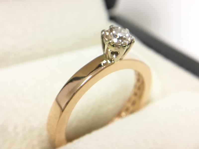 BLUSH 14 K Rosé Gouden Solitair Ring 0.35 crt Briljantgeslepen Diamant