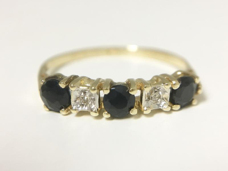 14 K Gouden Aanschuifring Saffier / Diamant