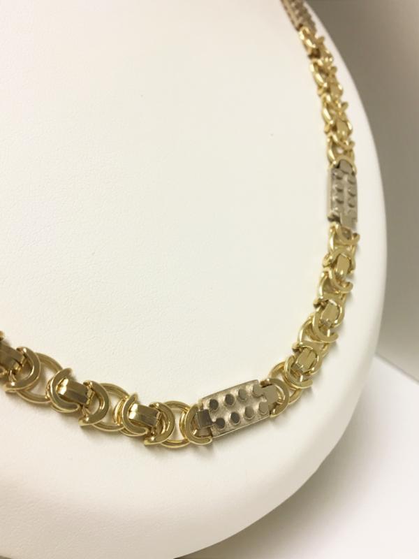 14 K Gouden Koningsketting Witgouden Blokken - 68,5 cm / 67,55 g