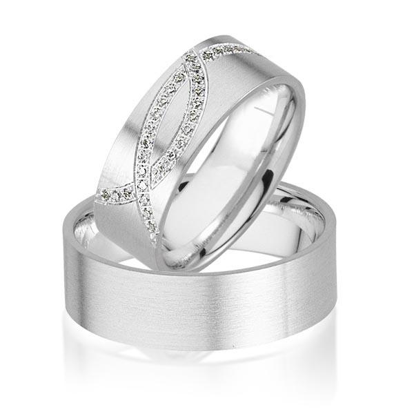 Trouwringen Witgoud 14 Karaat 0.18 Diamanten - Model FL102
