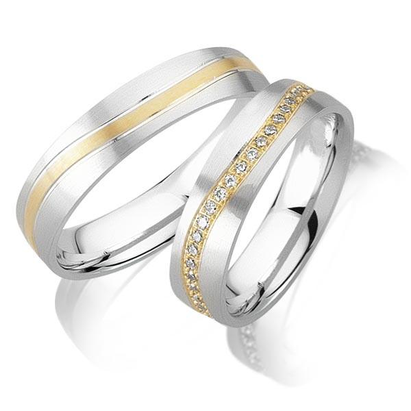 Trouwringen Bicolor Goud 14 Karaat 0.45 Diamanten - Model FL61