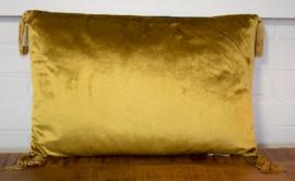 gouden velvet kussen met kwastjes
