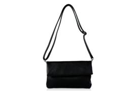 heup- schouder en clutch tas zwart
