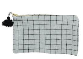 madam stoltz - linnen tasje met tassel grey