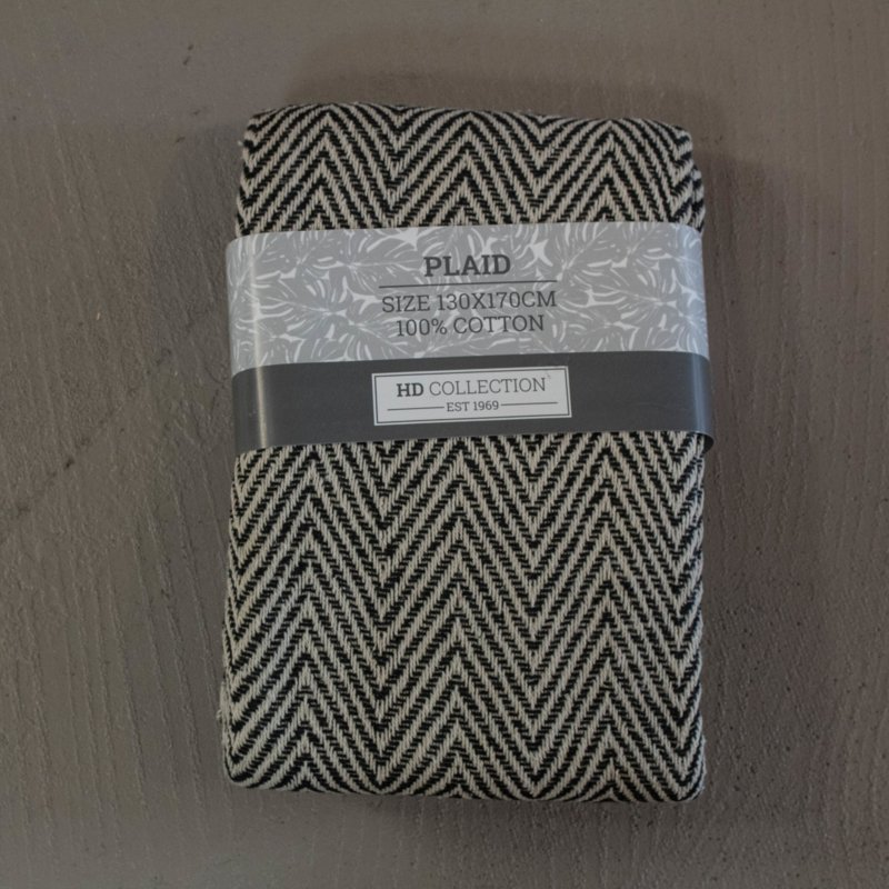 plaid zigzag zwart/wit