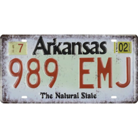 Tin License plate, Arkanas