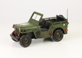 A TIN MODEL OF AN ARMY JEEP