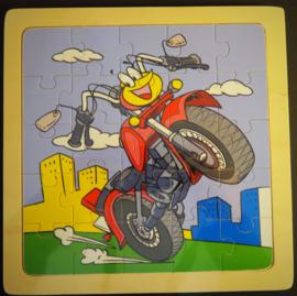 Een motorfiets cartoon als puzzel