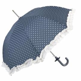 Paraplu, blauw/witte hartjes