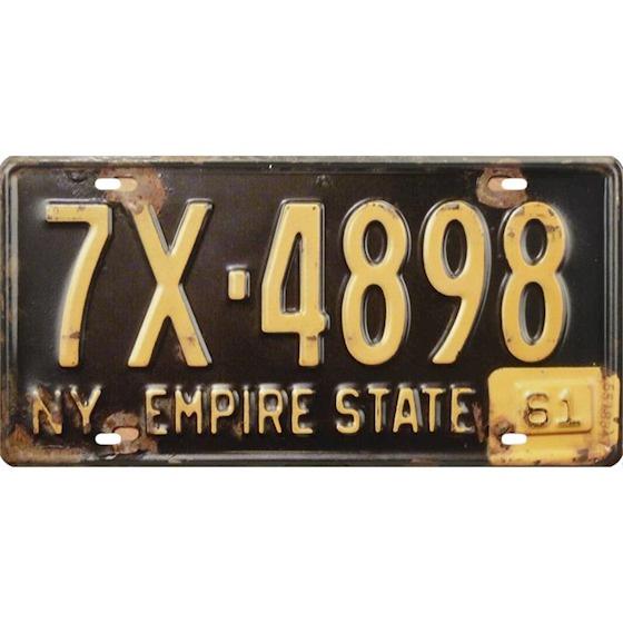 Tin License plate, NewYork