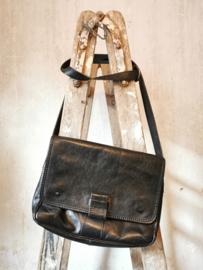 Vintage zwart lederen tas