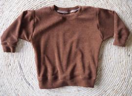 Sweater badstof donkerbruin