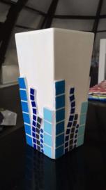 Vierkante pot blauw