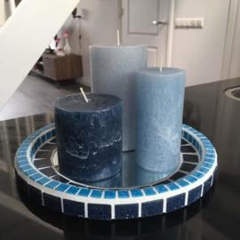 Dienblad rond blauw (eventueel met kaarsen)