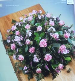 Rouwstuk Roze biedermeier (op foto klein formaat )