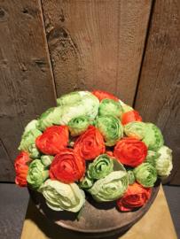 Ranokel boeket oranje/groen