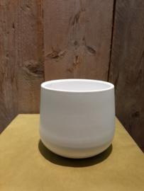 Pot wit (mat) bol aflopend ○12,5 cm