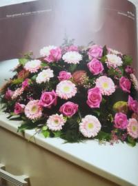 Rouwstuk Roze lang/ovaal (zoals foto)
