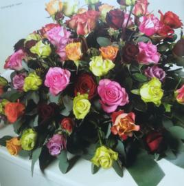Rouwstuk bonte rozen luxe (zoals foto)