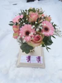 Bruidsboeket roze bolletje