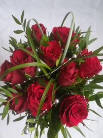 Bruidsboeket rode rozen bolletje
